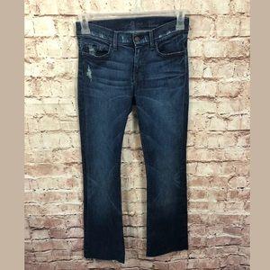 7 FAMK high waist bootcut Jeans 26 Raw Hem